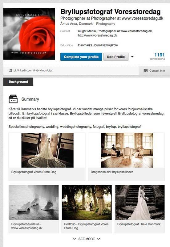 Bryllupsfotograf og Linkedin